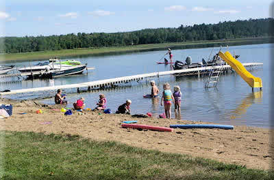 beach at Whippoorwill resort in Park Rapids MN
